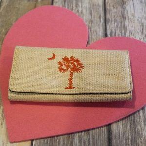 Straw-look South Carolina Palmetto Clemson wallet